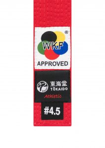 Tokaido, WKF APPROVED, Karate Belt, Red